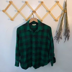 Madewell Green and Black Button Down Flannel Style